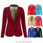 NEW LADIES WOMENS ONE BUTTON LEOPARD LINING SMART BLAZER JACKET PLUS SIZES 16-20