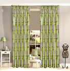 Luxor Luxury Curtain Pair - Green Faux Silk Floral Pencil Pleat Lined Curtains