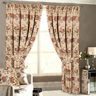 Vintage Floral Tapestry Jacquard Pencil Pleat Curtains in Beige & Red - Classic