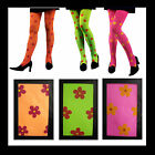TIGHTS Pantyhose HIPPIE Orange Green Pink Flower Power 1960's