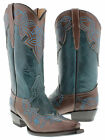 women's turquoise brown cowboy boots ladies leather floral stiched western rodeo