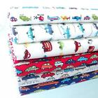 TRAFFIC JAM CARS 100% COTTON FABRIC kids children nursery RETRO BOYS blue beige