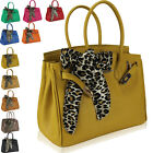 New Ladies Designer Leather Style Tote Satchel Top Handle With Scarf Bag Handbag