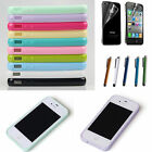 New Cover Silicon Transparent Case TPU Cover Stylus Screen For Apple iPhone 4 4S