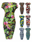 Womens Plus Size Ruched Bodycon Dress Floral Geometric Ladies New Sz 16-32