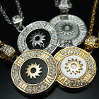 Tondo Sun Roman Numeral Pendant Necklaces 18K Gold Silver Plated Crystal Jewelry