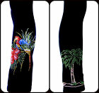 NEW PLUS SIZE FULL-LENGTH LEGGINGS EMBELLISHED RHINESTONE PARROT & PALM TREE