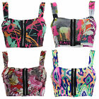 A41 LADIES PRINTED BRALET TOP WOMENS BRA CROP TOP ZIP FRONT PADDED BOOBTUBE TOPS
