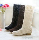 Women's Shoes Lace Cowboy Boots Mid-Calf Boots Wedge Low Heels AU All Size Y928