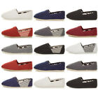 MENS FLAT ESPADRILLES CANVAS SLIP ON PLIMSOLES PUMPS DECK SHOES SIZE