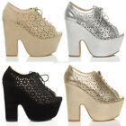 WOMENS LADIES EXTREME HIGH PLATFORM BLOCK HEEL LACE UP CUT OUT SHOES SIZE 6 39