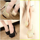 NEW Womens Fashion Sexy Lace Hollowed High Heel Platform Stiletto Shoes Pump S
