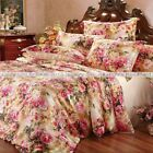 4 Pcs 19M/M Seamless Floral Printed 100% Silk Duvet Cover + Sheet Set All Size