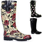 WOMENS LADIES FLAT FESTIVAL WELLIES WELLINGTONS KNEE HIGH RAIN BOOTS SIZE 3-8