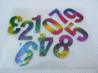 10x QUALITY SMALL COLOURFUL GLITTER NUMBERS 0-1 IRON ON SMOOTH PATCHES UK SELLER