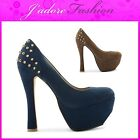 NEW LADIES STUDDED HIGH HEEL BLOCK  PLATFORM ROUND TOE COURT SHOES SIZES UK 3-8