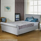FABRIC UPHOLSTERED 3FT6 LARGE SINGLE SLEIGH BED + MEMORY FOAM/ORTHO MATTRESS
