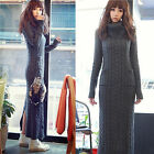 Fashion Women Turtleneck Long Sleeve Fitted Knitted Winter Crochet Sweater Dress