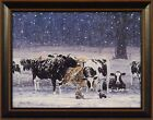 ONE SNOWY NIGHT by Bonnie Mohr FRAMED ART PRINT 15x19 Winter Cows Cats Birds