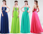 Stock Sexy New Strapless Chiffon Formal Ball Gown Evening Prom Party Long Dress