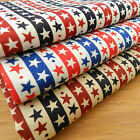 per fat quarter stars & stripes fabrics 3 colours 100% cotton poplin 18 x 22 ""