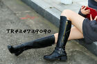 Women's Med Heel Trendy Knee High Boots zipper Belt Buckle Shoes US All Sz Y496