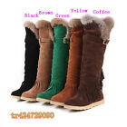 Women's Knee High Fringes Boots Low Heel Shoes Tassels Hasp US All Size Y624