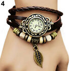 Women New Design Retro Leather Bracelet leaf Decoration Quartz Wrist Watch BD3U