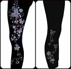 PLUS SIZE FULL-LENGTH LEGGINGS EMBELLISHED RHINESTONE PINK BUTTERFLY FLORAL