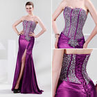 Stunning Sequin Corset Bridesmaid Evening Formal Ball Gown Party Prom Long Dress