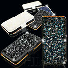 CRYSTAL DIAMOND BLING PU LEATHER WALLET FLIP CASE COVER FOR IPHONE 4G 4S + FILM