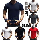 Men's T-Shirt Slim Fit Plain V-Neck Muscle Fashion Casual GYM Short Sleeve S-3X image