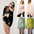 Sexy Women Star Print Knit Tops Hollow Hole Ripped Loose Jumper Sweater Blouse