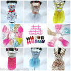 LOT OF 30 BARBIE SINDY DOLL ITEMS 10x SHORT DRESSES 10x SHOES, BOOTS 10x HANGERS