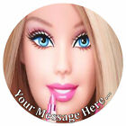 Barbie Personalised Edible Rice/Icing Cake Topper 7.5 inch Circle