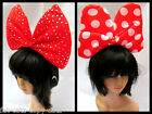 MINNIE MICKEY MOUSE STYLE RED POLKA DOTS PADDED LARGE BOW EARS HEADBAND UKSELLER