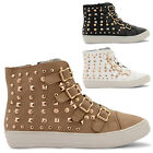 NEW LADIES FLAT STUD DETAIL ZIP UP  HI TOP ANKLE TRAINERS PUMPS SIZES UK 3-8