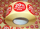 20% Off Promotional Point Of Sale Retail Stickers Sticky Tags Labels POS