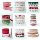 20 - 25 METRE ROLLS CHRISTMAS RIBBON RED GREEN GROSGRAIN GINGHAM wholesale