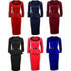Women's Knee Length Long Sleeve Peplum Frill Ladies Bodycon Dress