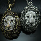 Lion Head Pendant Chain Necklace Animal Jewelry Gold Silver Crystals