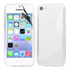 NEW S LINE WAVE GEL CASE COVER + SCREEN PROTECTOR FOR APPLE IPHONE 5C