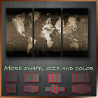 Map of World Time Zone Sepia Abstract Framed Wall Art Canvas Box ~ 3pc More Size