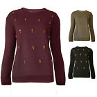 Womens Jumper Gold Skull Embellished Soft Touch Ladies New Sz 8-14