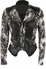 Women's PVC Leather Leopard Contrast Double Zip Lace Ladies Lined Jacket 8-12