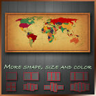 Vintage Political World Map Abstract Canvas Wall Art Deco ~ More Size & Color