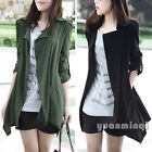 Fashion Autumn Female Women Long Sleeve Lapel Casual Trench Coat Jacket Cardigan