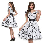 Vintage Floral Printed Cap Sleeve Cotton Rockabilly Pinup Party Swing Prom Dress
