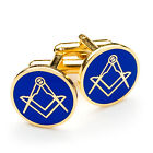 Quality Blue & Gold Masonic Sq & Compass Cufflinks