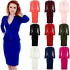 Ladies Long Sleeve V Neck Peplum Skirt Knee Length Midi Women's Dress 8-20
